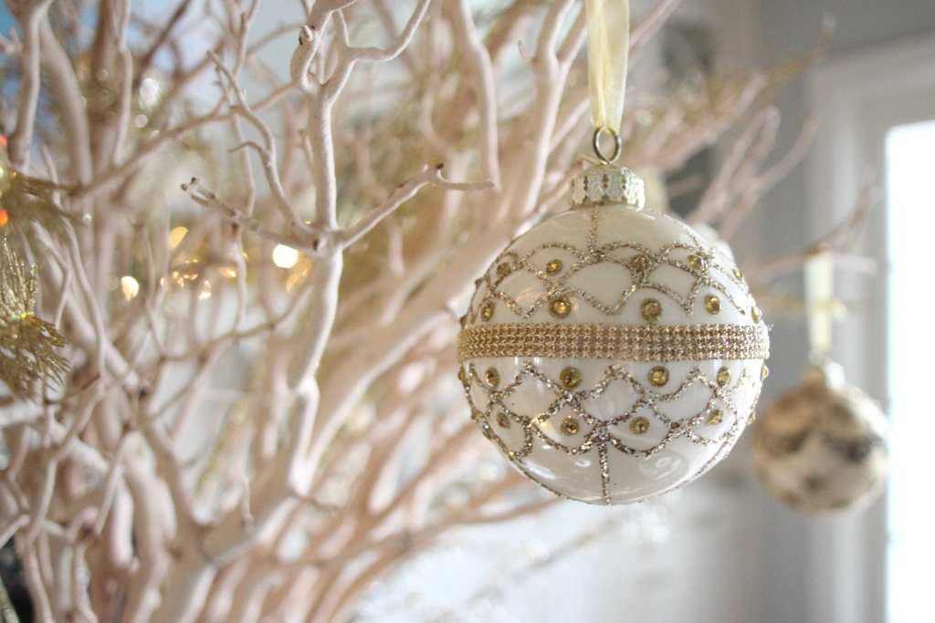 Frontgate ornaments in the ivory and gold ornament collection.