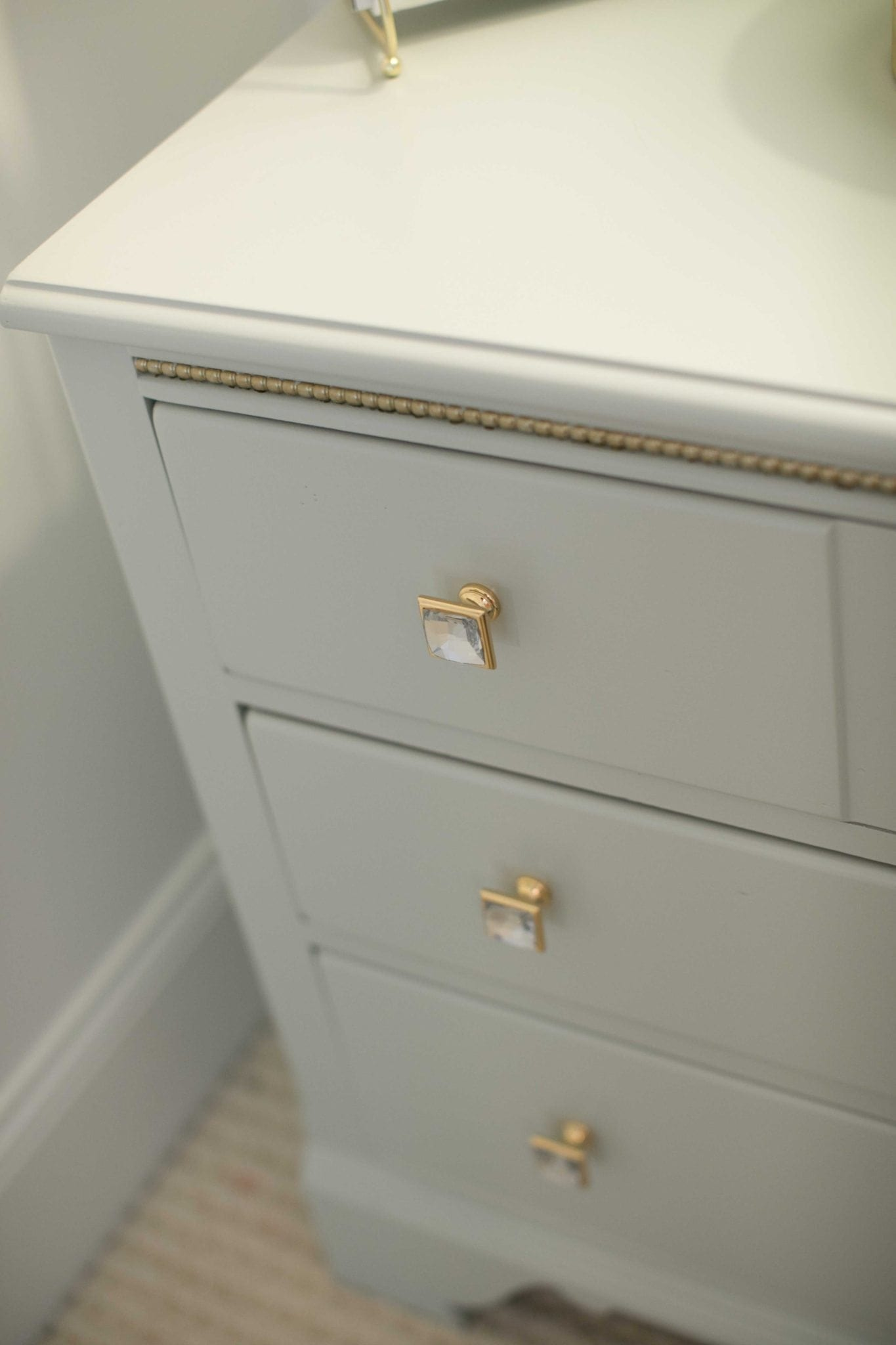 refinished girls bedroom furniture with hand painted gold detail