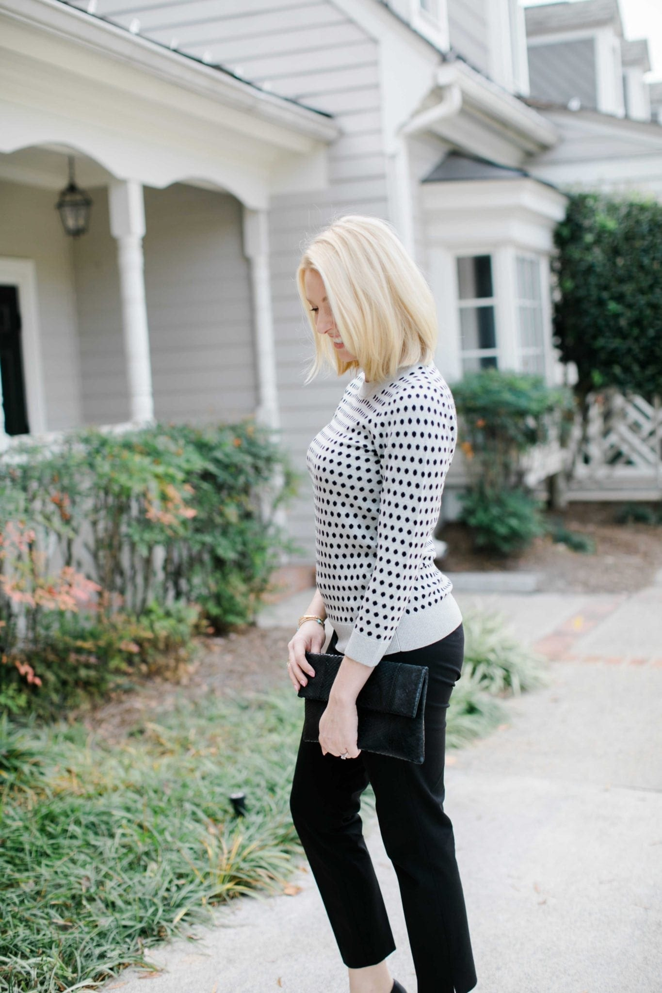 bluegraygal wearing Fall J Crew Favorites with classic black pants