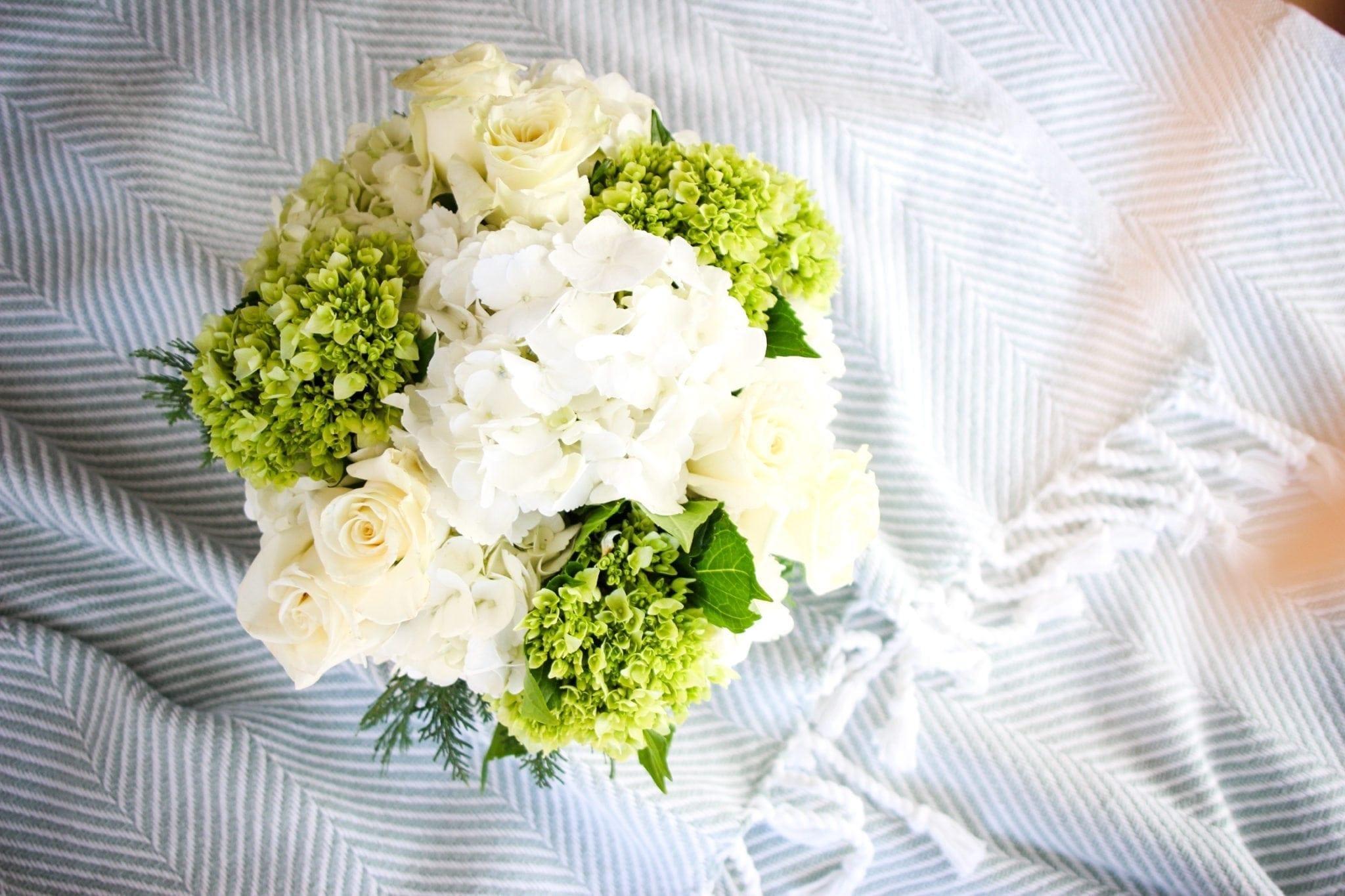 White and green hydrangea flower bouquet.