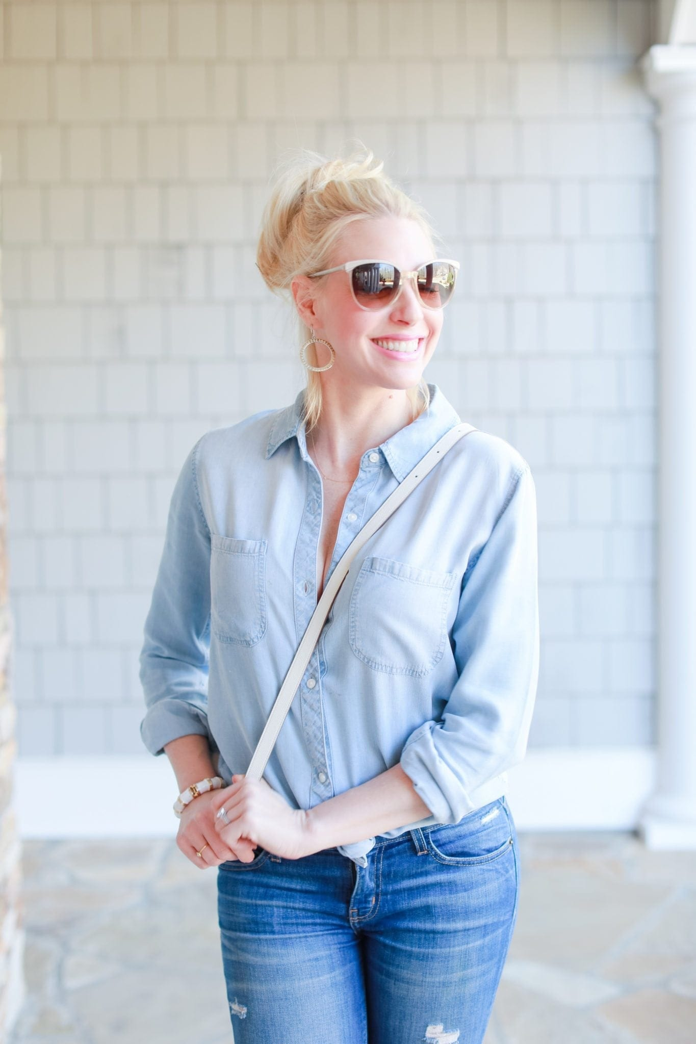 Why wear chambray? An easy everyday outfit with denim on denim.