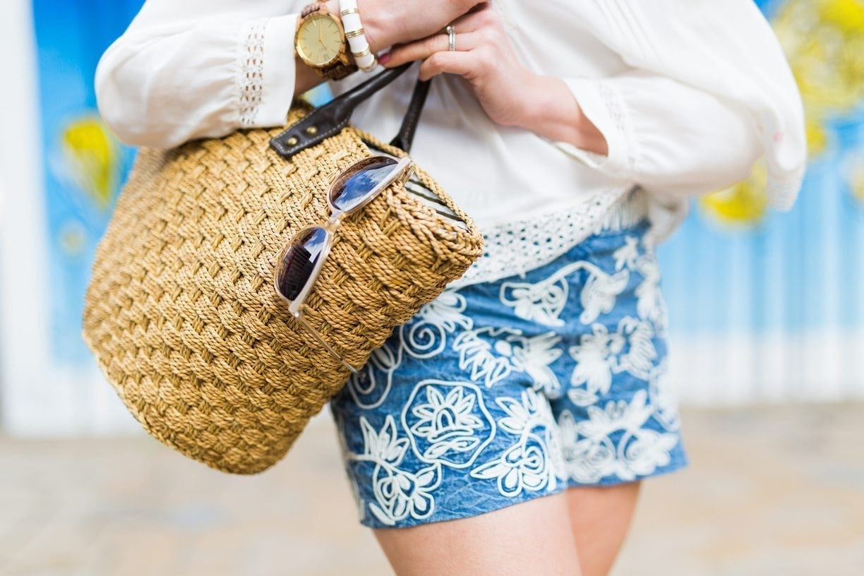 Embroidered Alice and Olivia shorts.