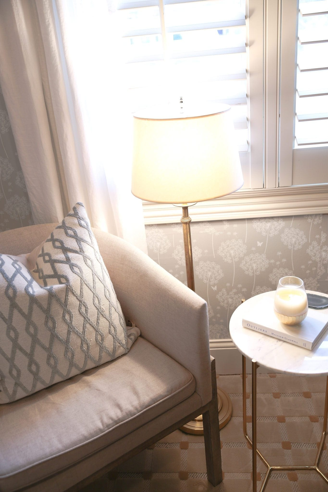 Home office makeover decorating on a budget. Neutral gray and white linen drapes in home office.