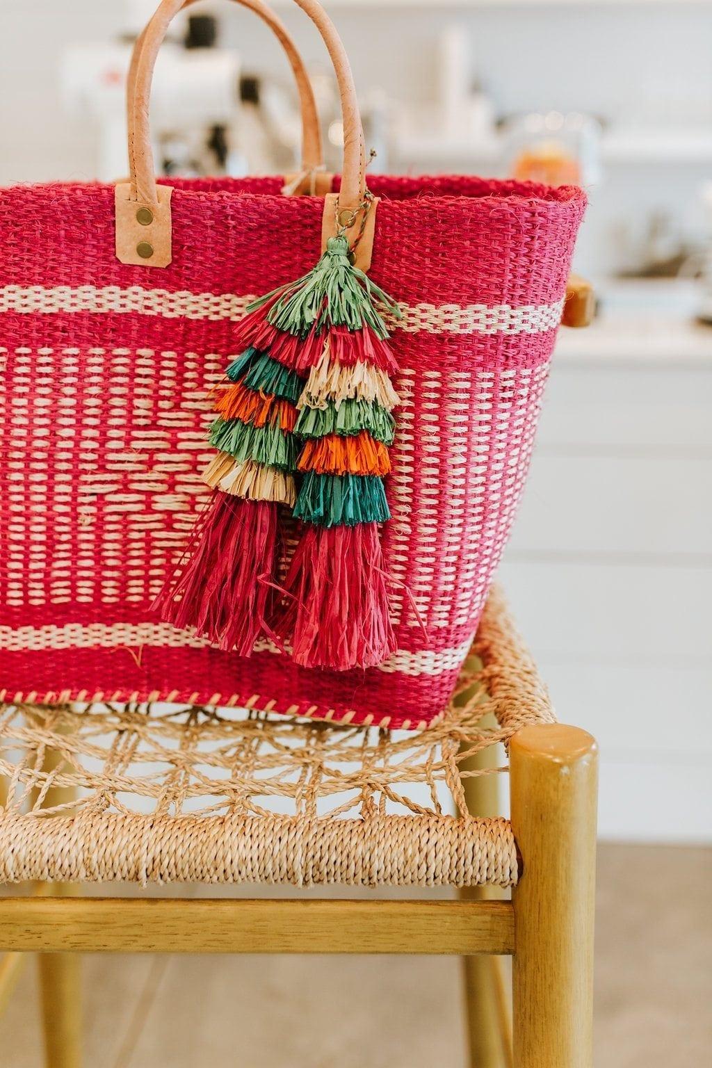 pink straw tote bag