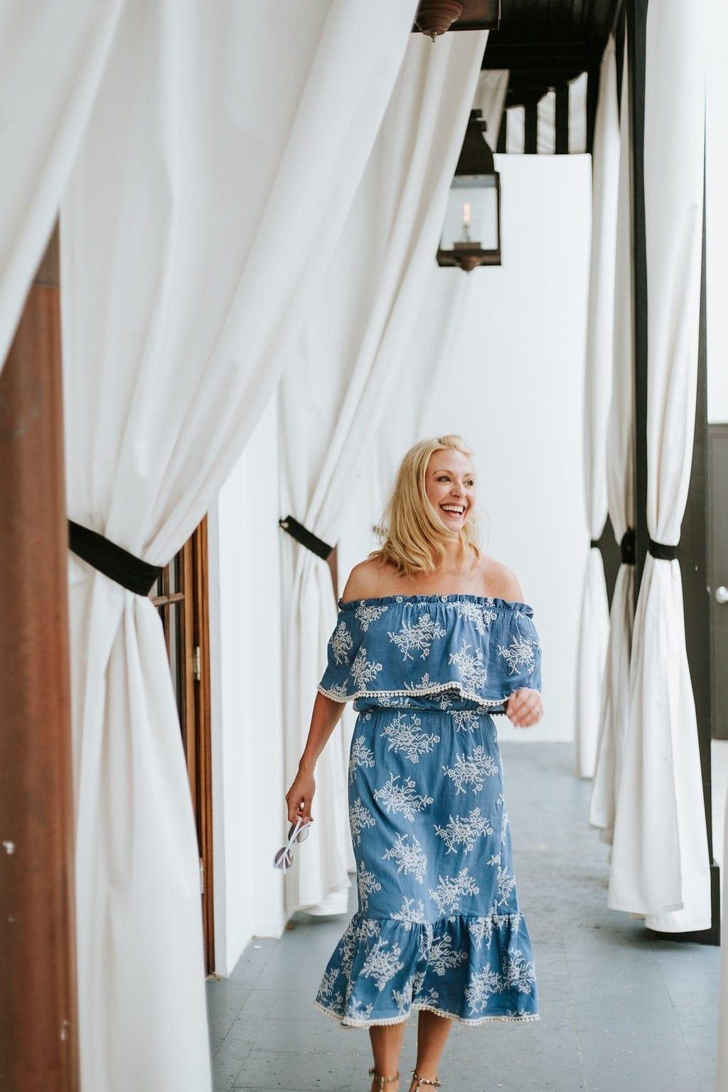 Midi length ruffle off shoulder dress in blue. Off the shoulder summer dress.