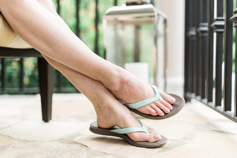 Turquoise green Reef flip flops.