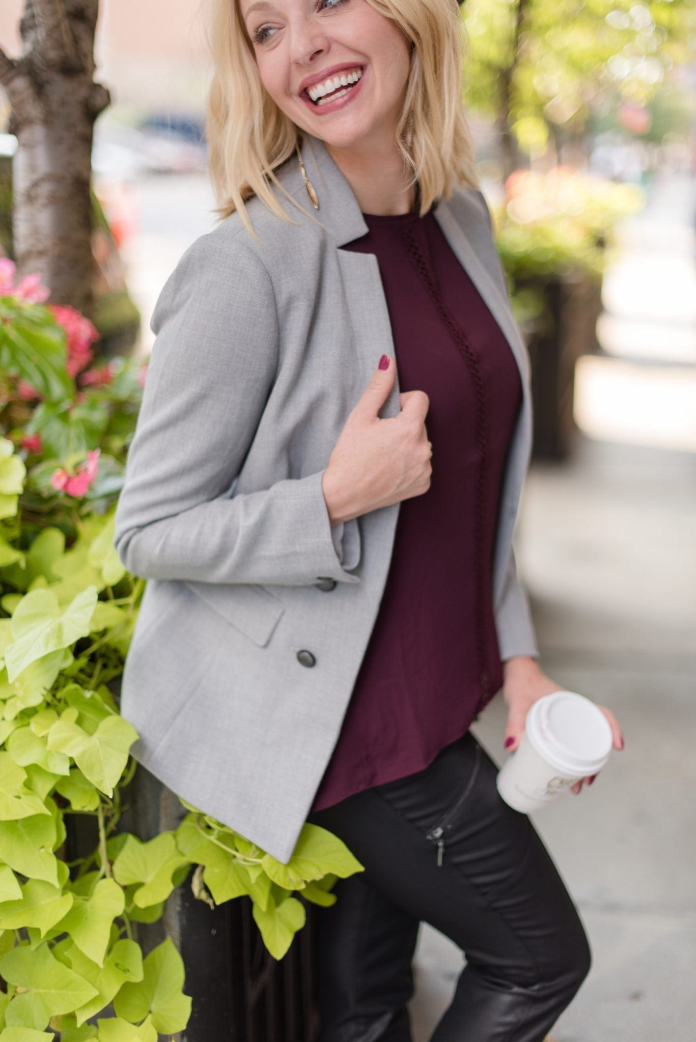 Gray blazer jacket and cabernet blouse on bluegraygal Kelly Page.
