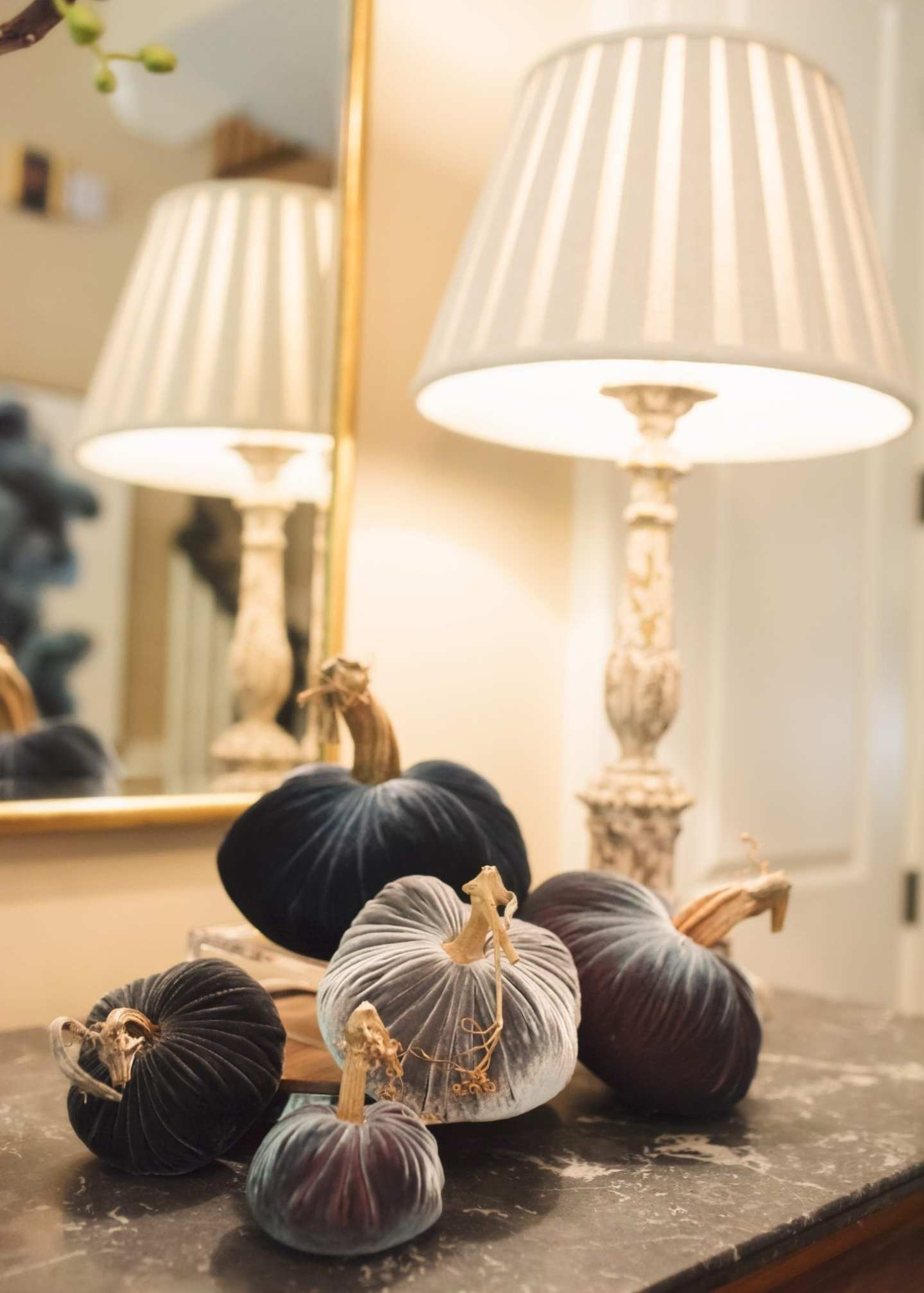 Fall entryway decor. Decorate your foyer or table for autumn with these velvet pumpkins!
