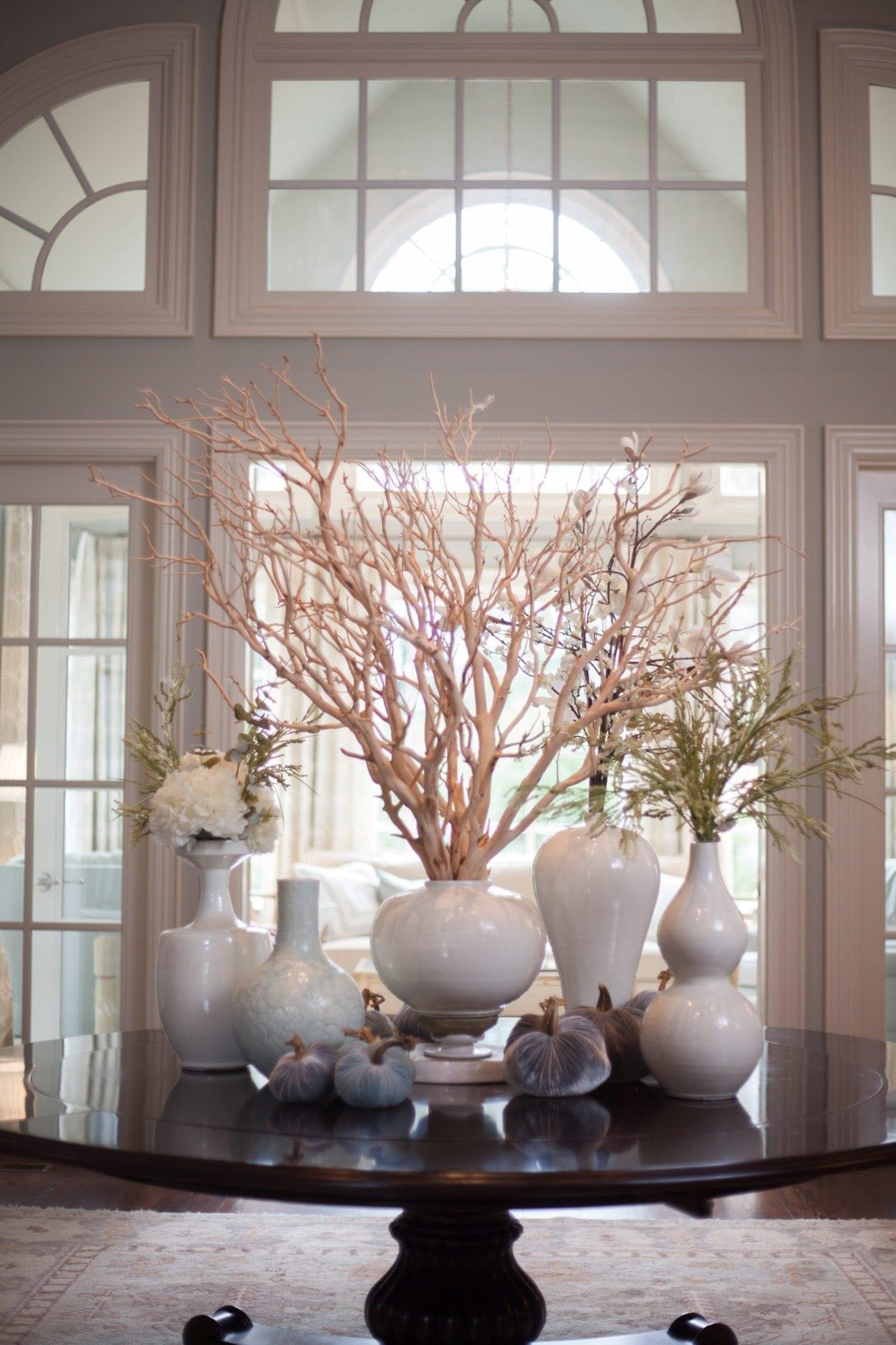 Centerpiece for round dining room table. Manzanita branch centerpiece idea.