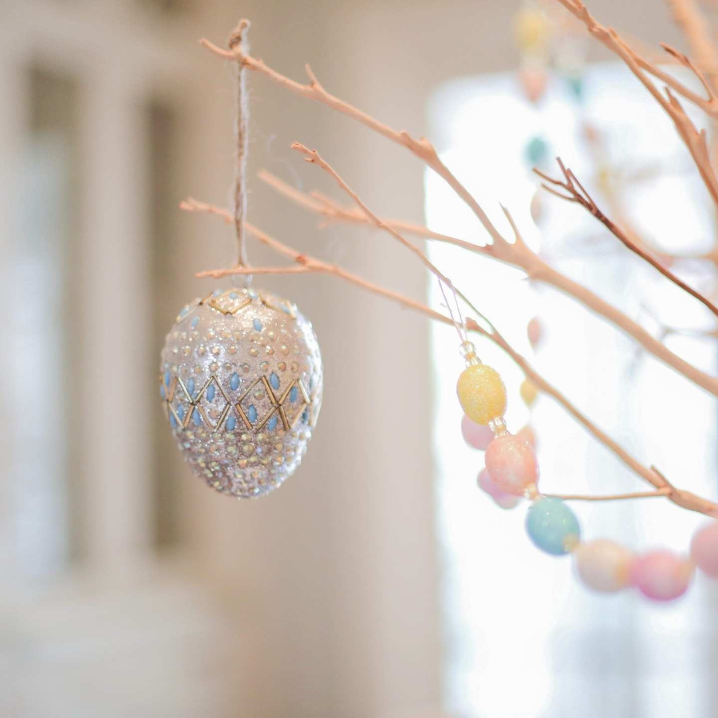 Pastel colored silver Easter egg.