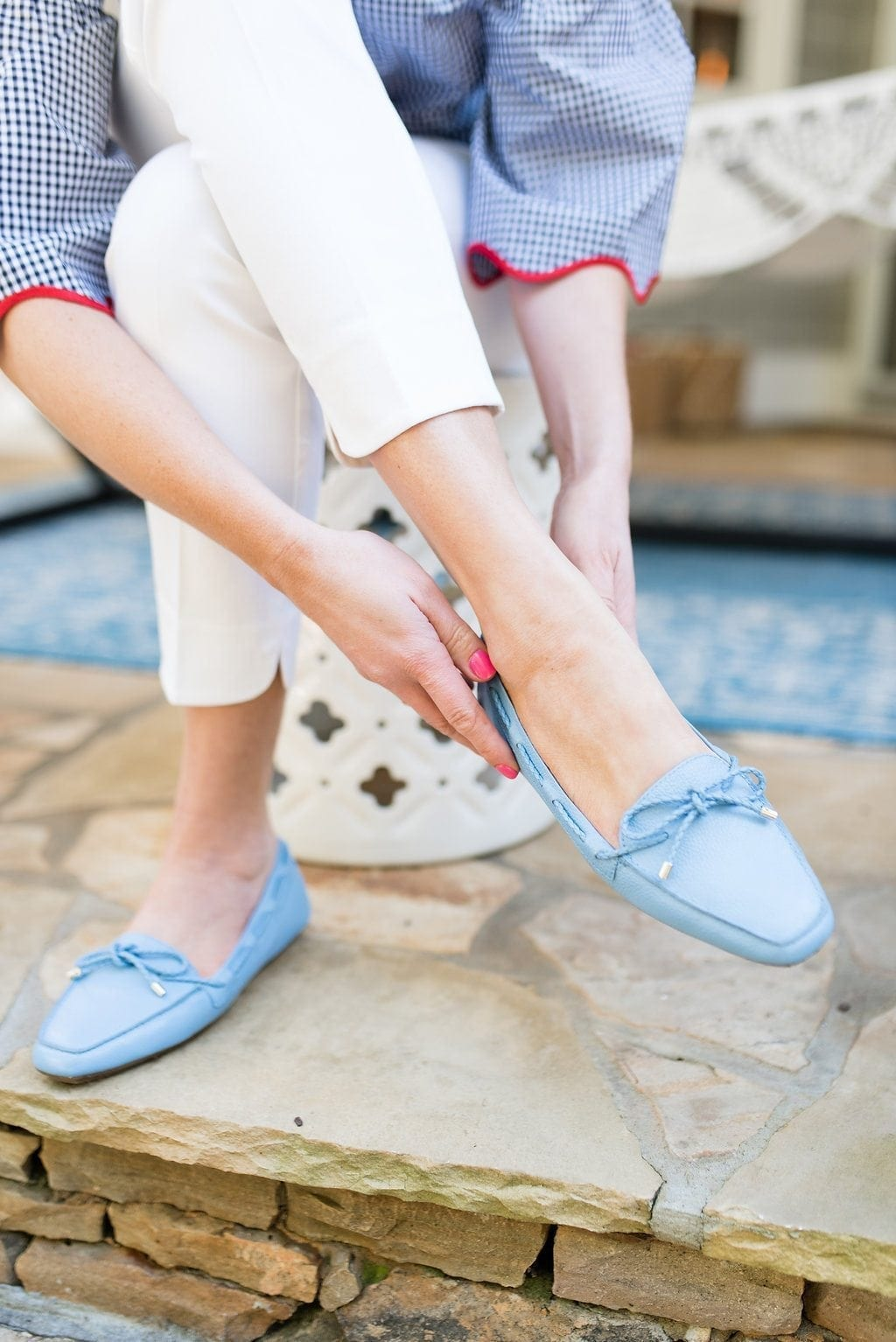 Blue moccasins from Talbots. Easy to wear leather flats with cute blue ties on them!