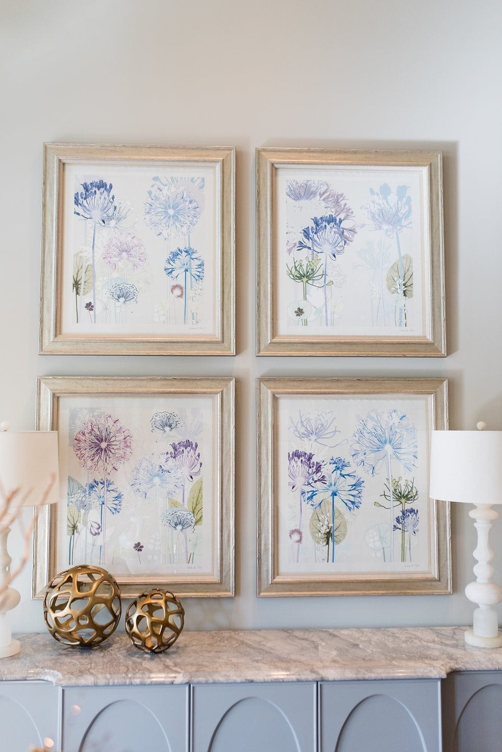 Botanical artwork in shades of purple, pink, blue and green. Pretty floral artwork series.