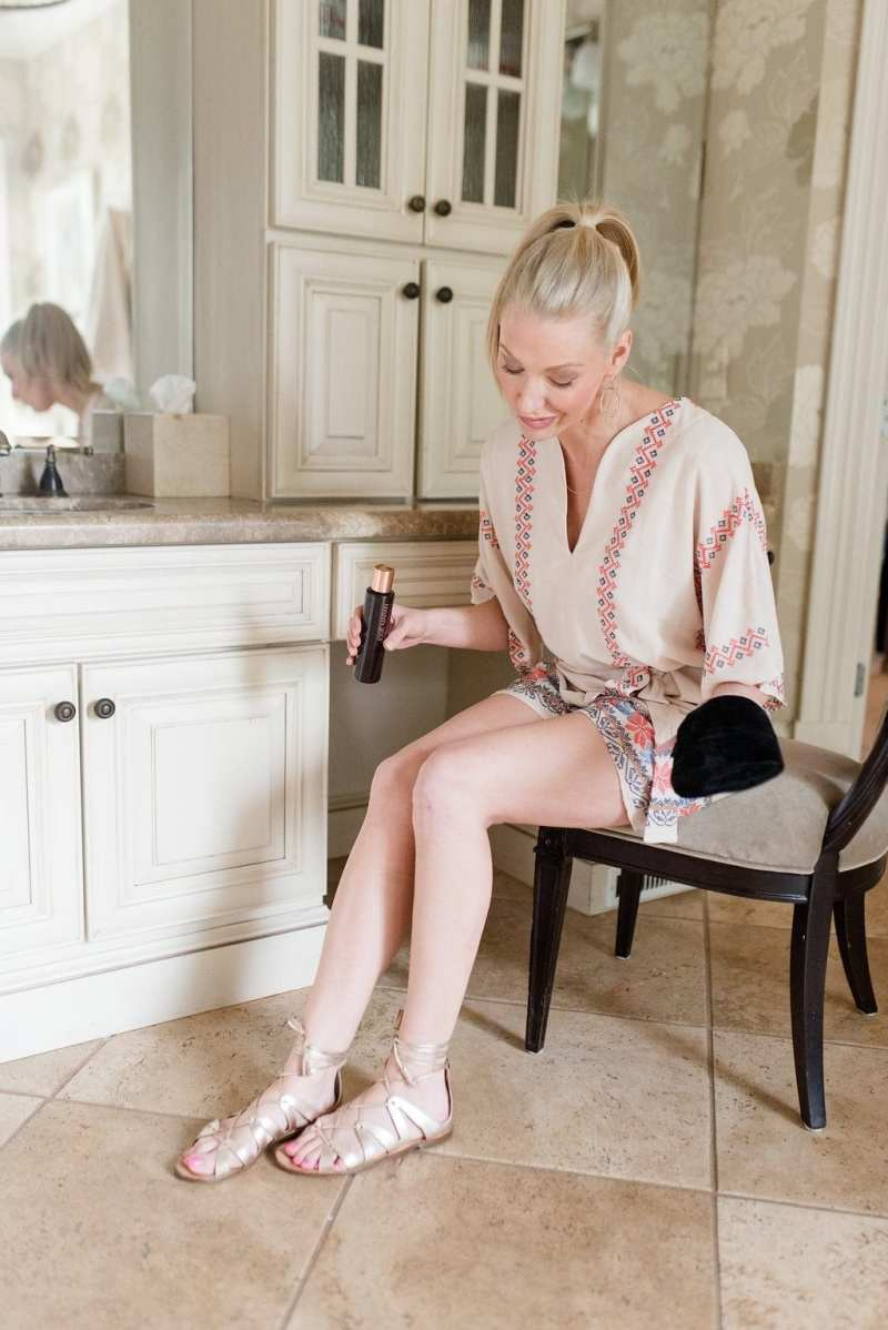 Anthropologie Romper. Review of the new tanning oil from Sephora by Josie Maran. Argan oil for your body.
