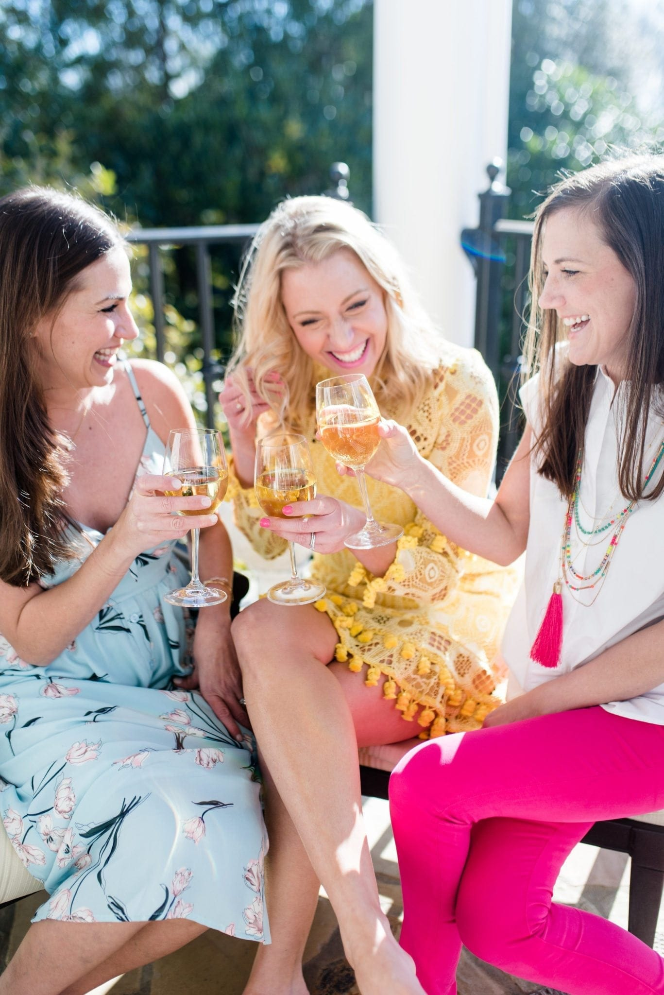 Spring outfits and girl time. Yellow dress, pink pants and floral maxi dress for pretty summer outfits!