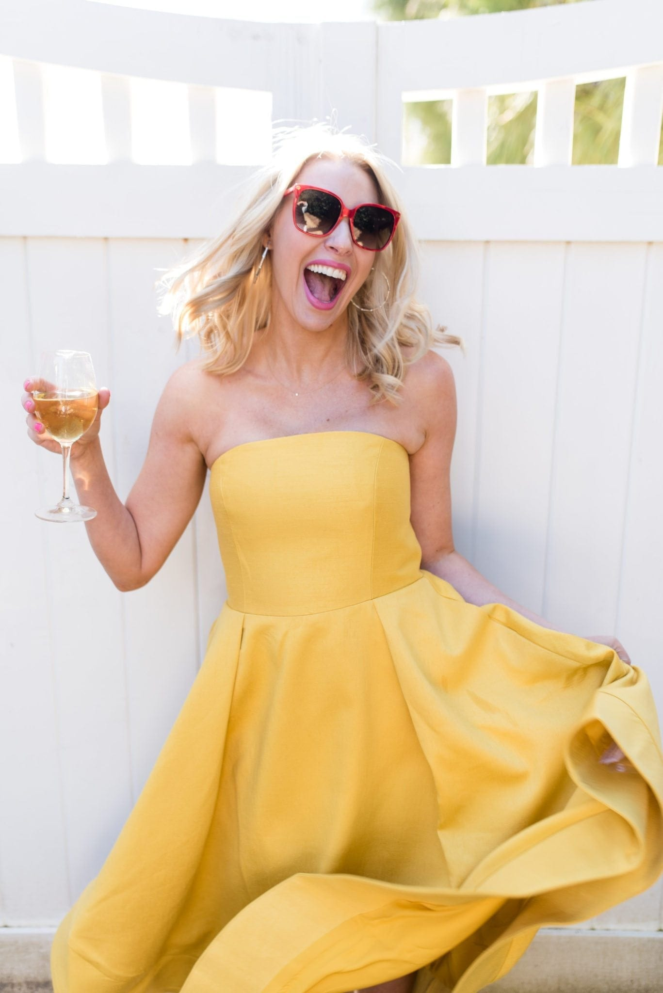 Red sunglasses and Yellow strapless dress. Fabulous party dress and party styling ideas.