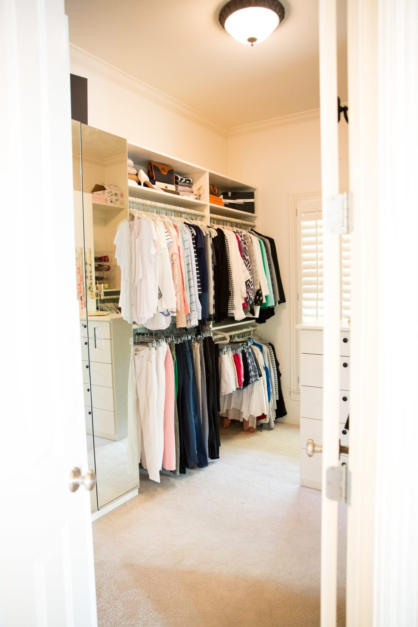 How to organize walk in closets.