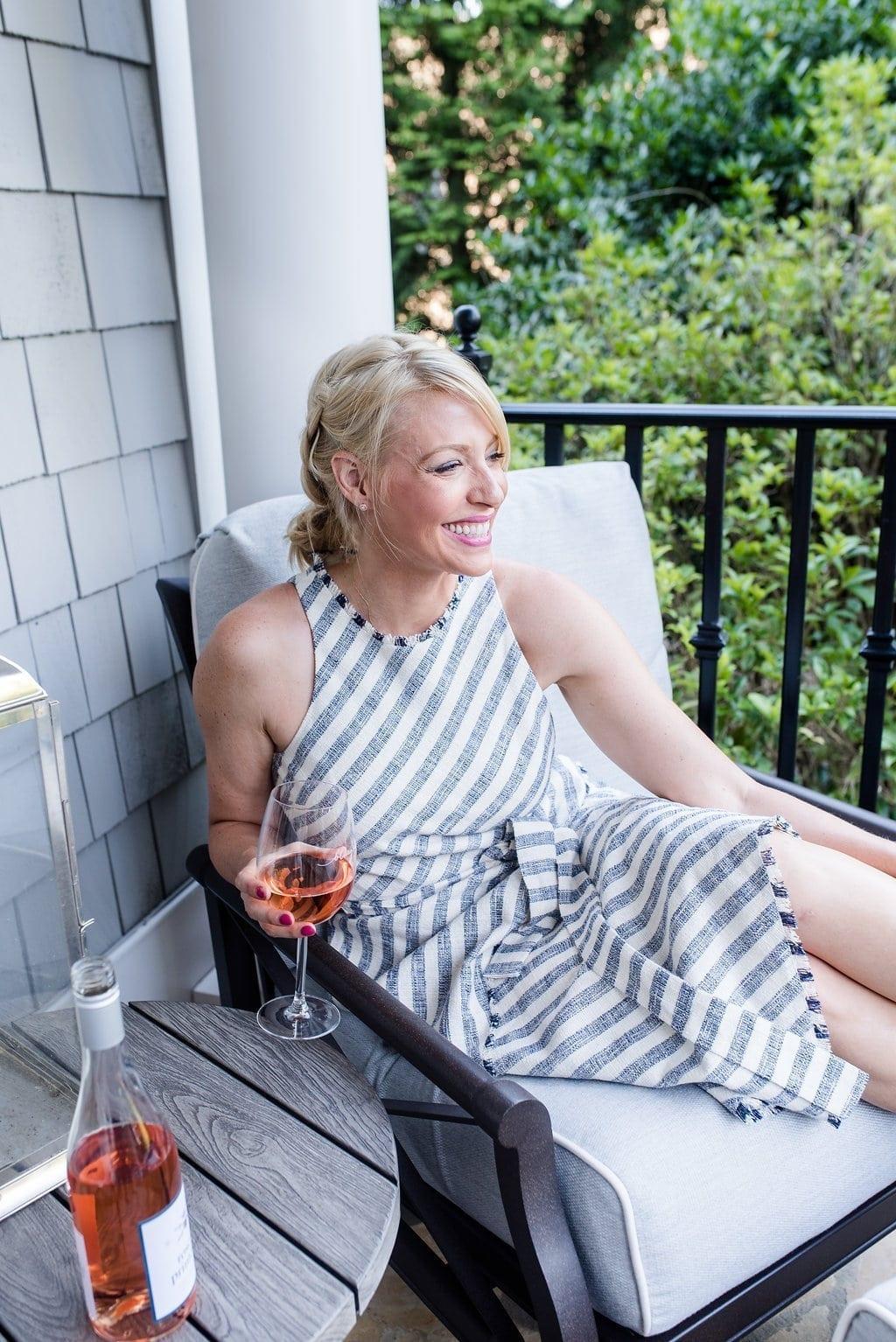 Summer hair and summer stripe dress.