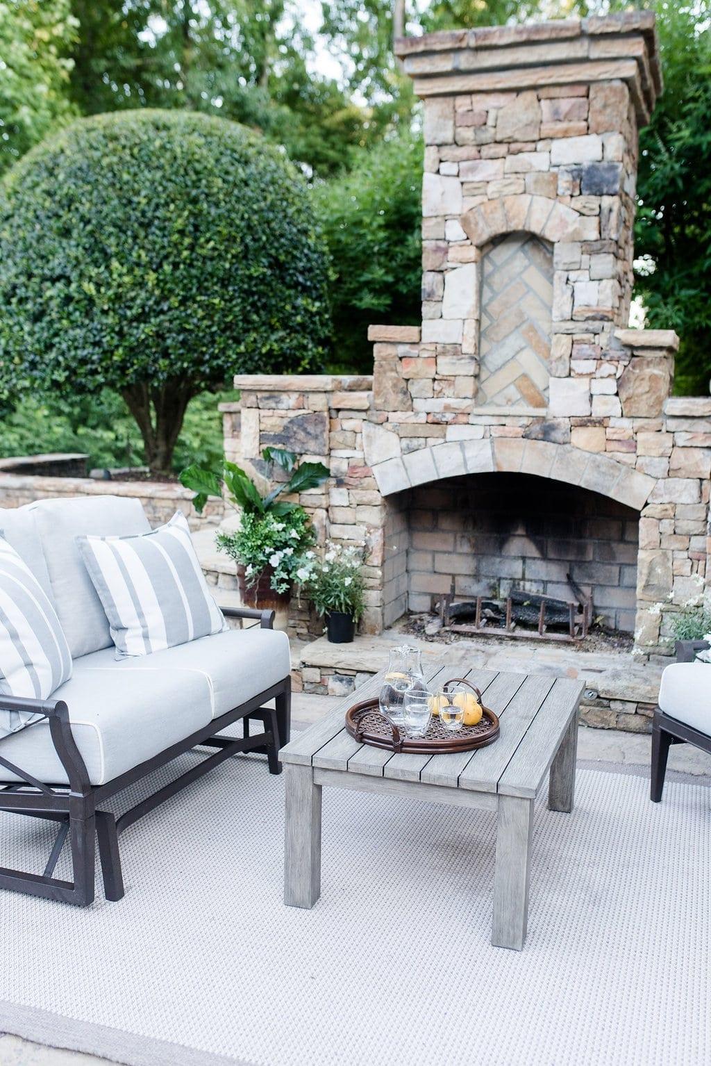 Andover Loveseat. Stone fireplace. Atlanta homes.