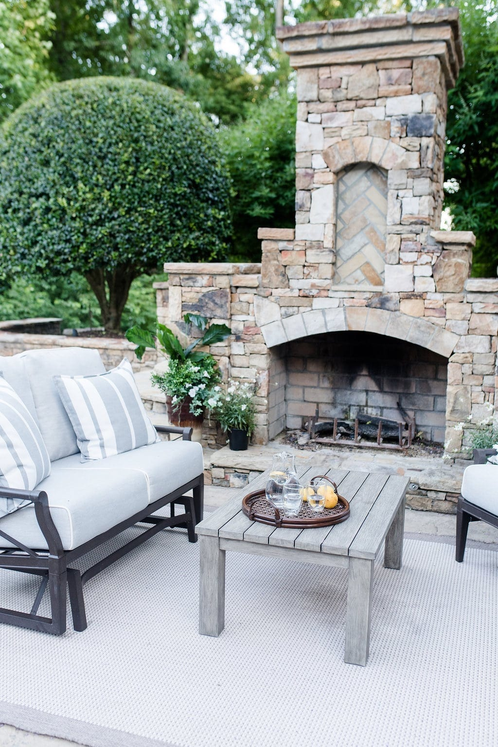 Andover Loveseat. Stone fireplace. Atlanta homes.