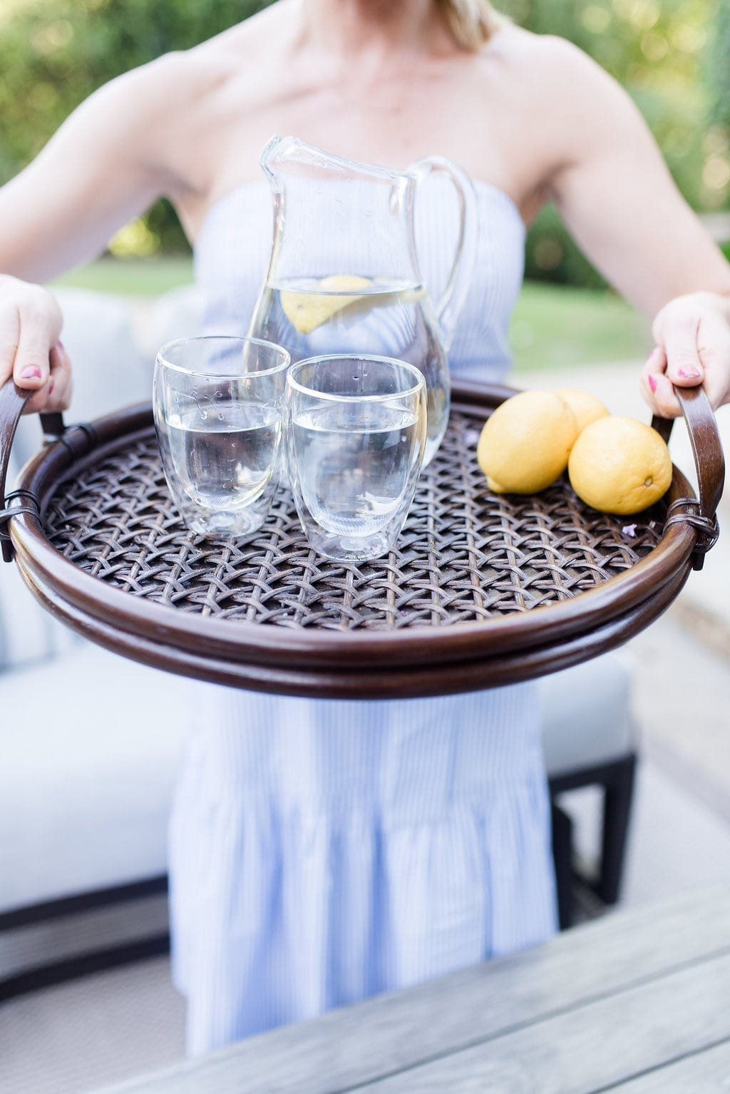 Threshold Tray from Target. Wood woven tray with lemons and glasses of water.