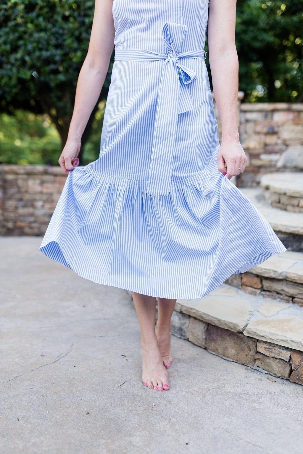 Seersucker dress with ruffle skirt detail.