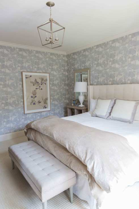 Bedroom makeover with pattern wallpaper on all walls and lantern light fixture.