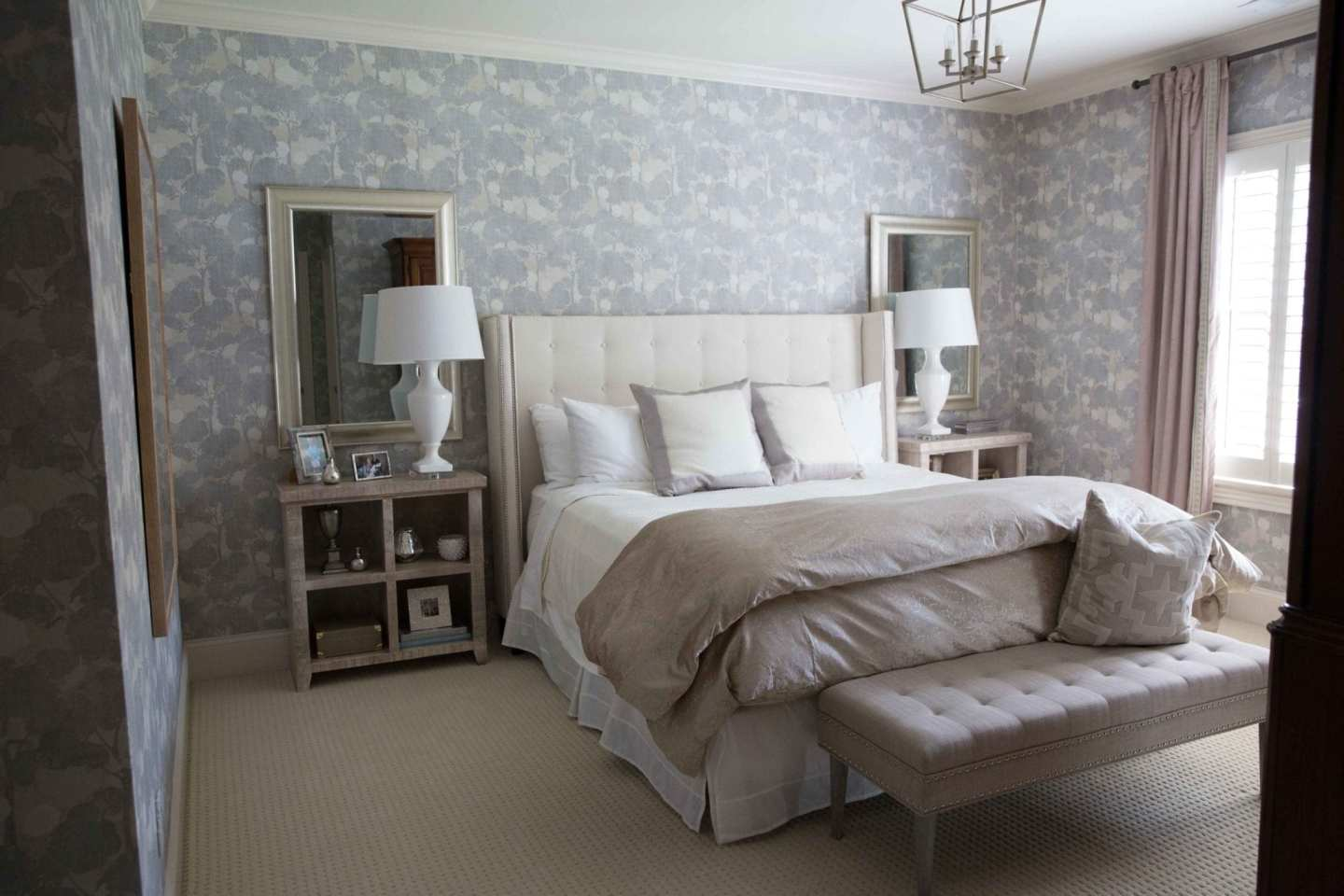 Floral Design Wallpaper in Guest Bedroom makeover. White table lamps.