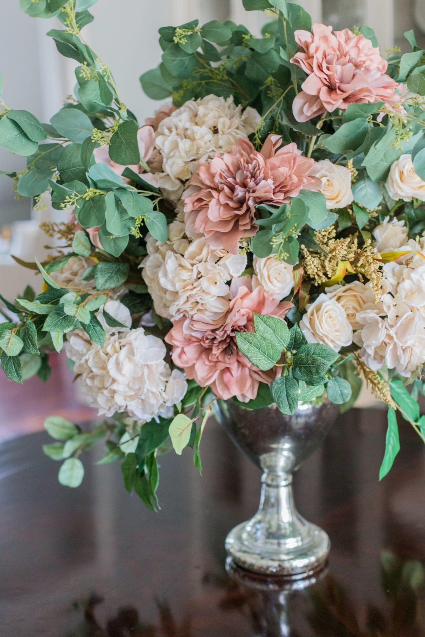 Large faux flower arrangement. How to make fake flower arrangements for fall Thanksgiving centerpiece.