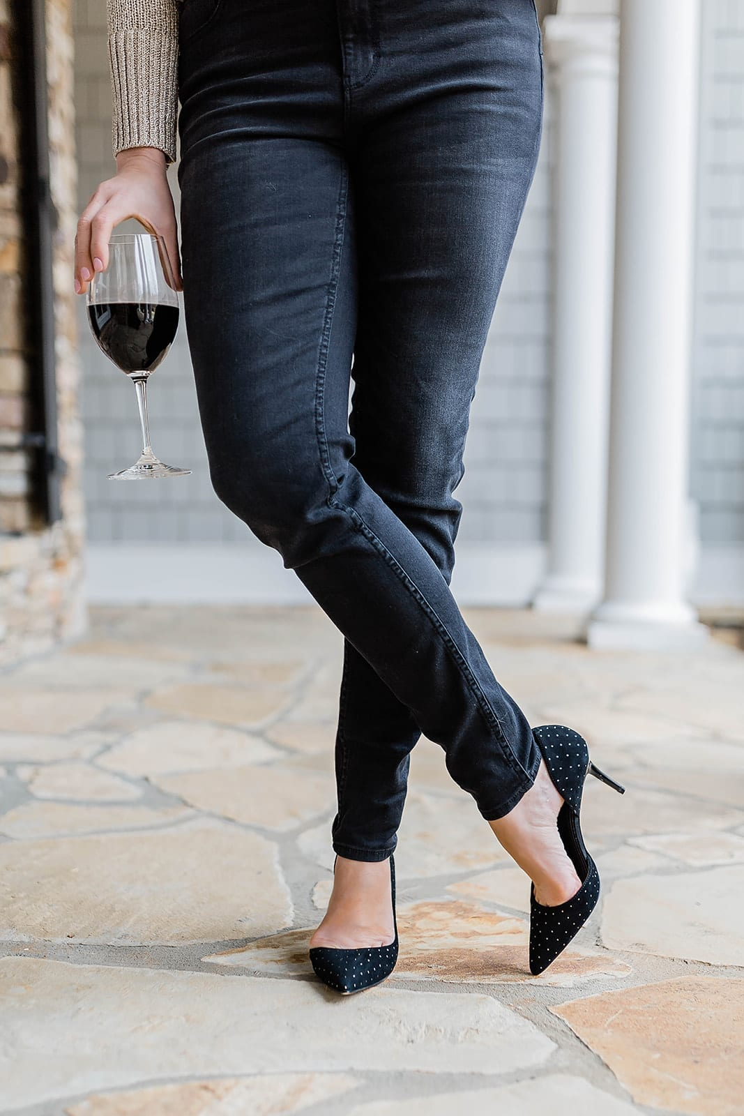 Crystal Black Pumps on sale for $50 with black jeans!