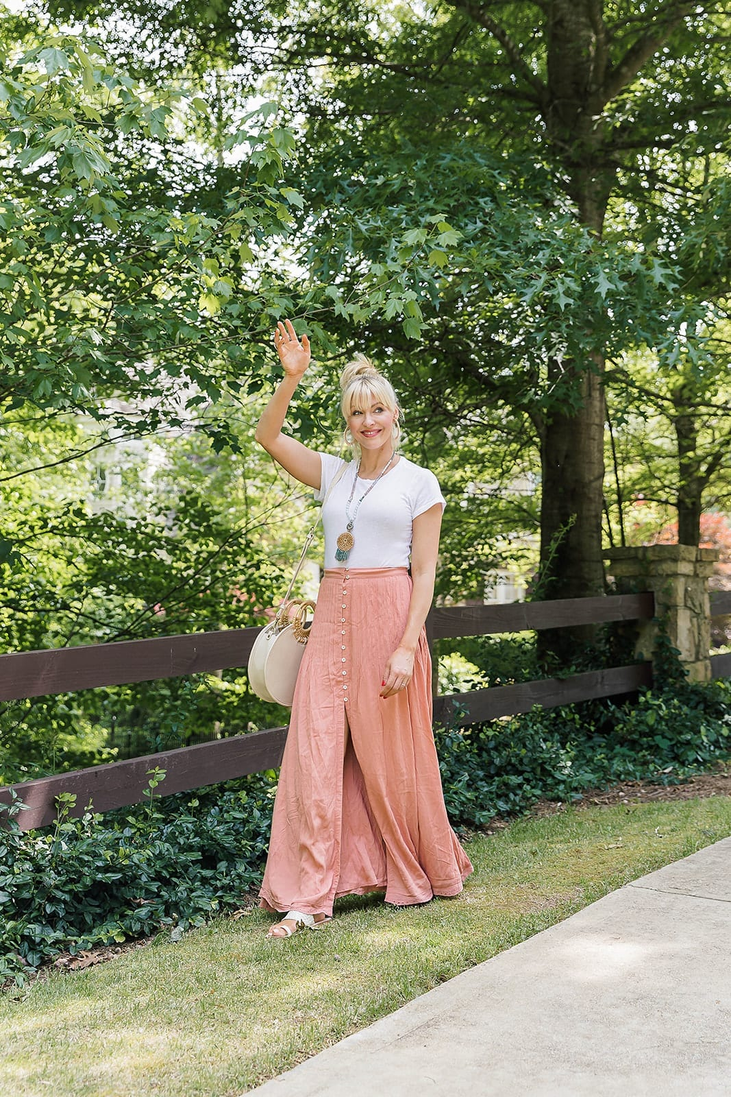 Atlanta lifestyle blogger Blue Gray Gal in summer skirt outfit.