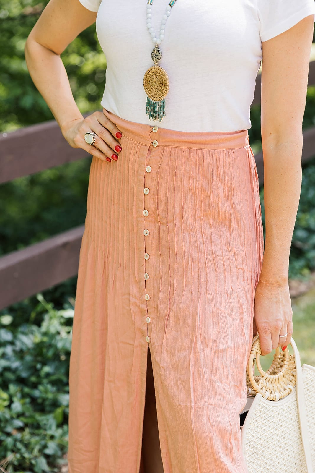 Orange Maxi skirt from Revolve for summer bright fashion fun!
