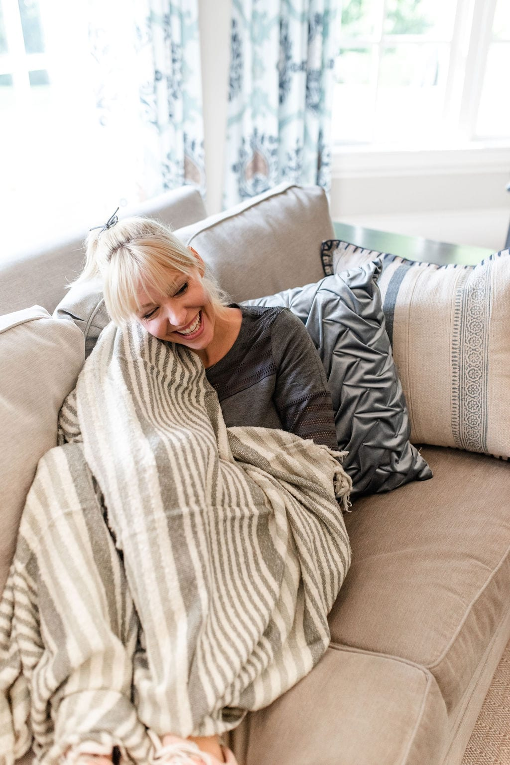 Wayfair taupe throw blankets. Super sot summer throw blanket in neutral stripe colors.