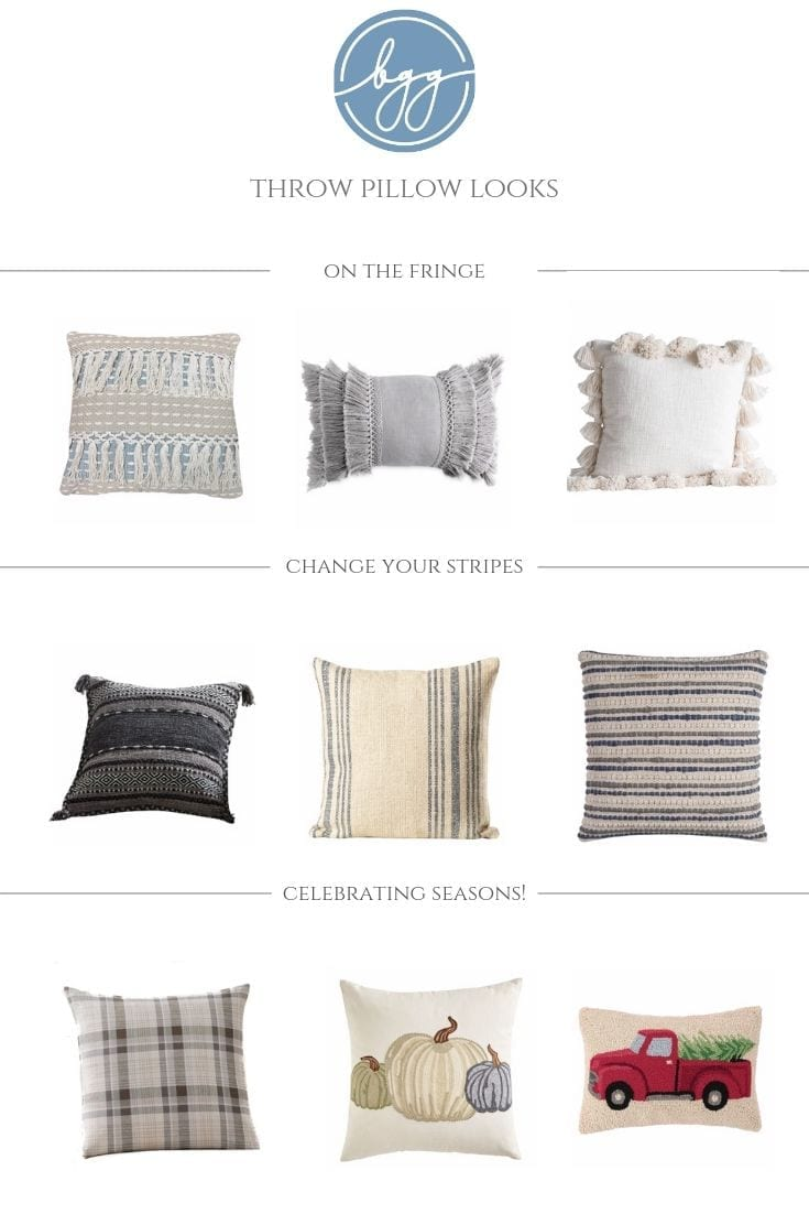 Throw Pillows Ideas for farmhouse decor. Tassel throw pillows, stripe throw pillows and seasonal pillows.