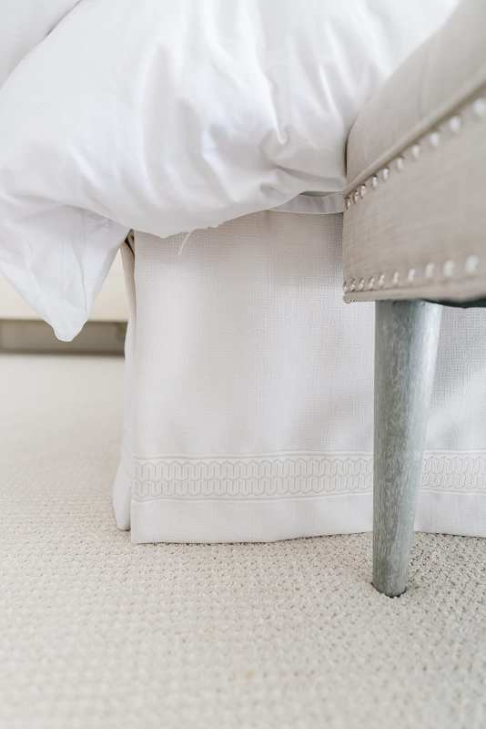 Ivory Bedskirt. Custom ivory skirt with trim from Calico Corners. Neutral bedroom decor.