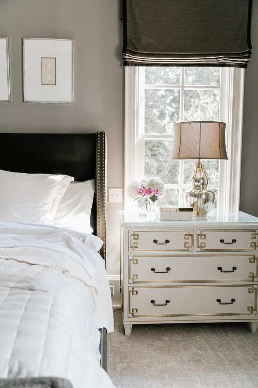 Ivory Bedroom Furniture and ivory sheets. Brown roman shades and Hickory Chair Nightstand.