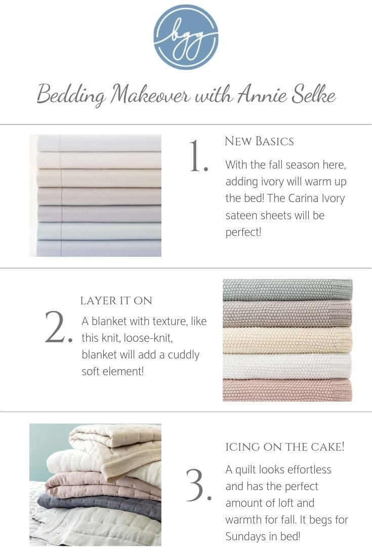 New fall bedding from Annie Selke bedding. Master bedroom sheets makeover. Great fall sheets that aren't too hot.