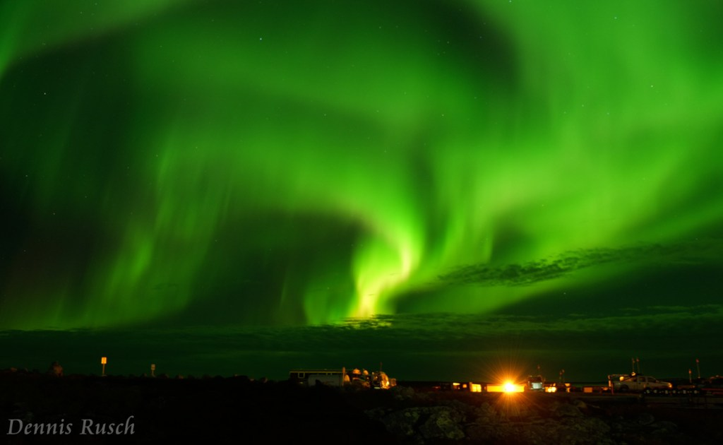 Northern Lights Show Over Camp by Dennis Rusch
