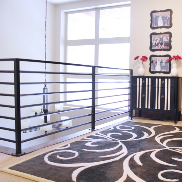 How To Child Proof Horizontal Railings Blue I Style   Horizontal Iron Stair Railing   Chris Loves   Modern   Popular   Low Cost   Remodel