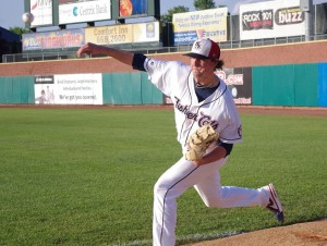 Deck McGuire warms up before a game for the New Hampshire Fisher Cats