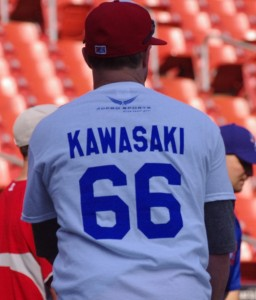 Mike McCoys wears a Kawasaki T-Shir during batting practice