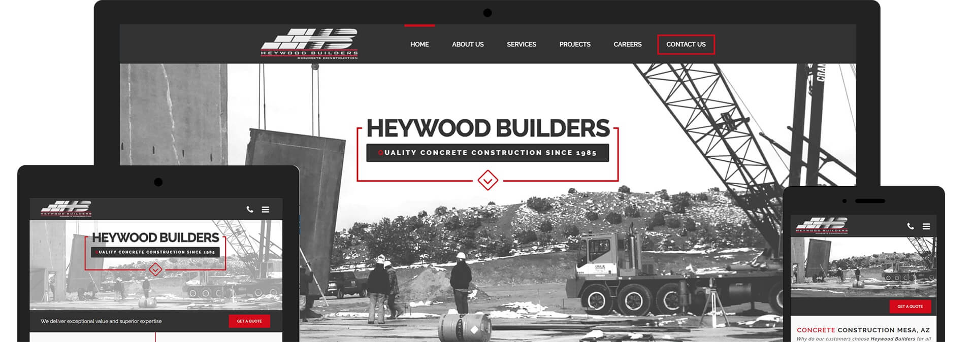 Heywood Builders Concrete Construction Custom Responsive Website