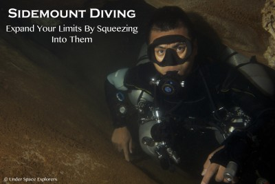 sidemount diver in cave