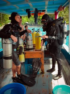 Rebreather diver MK6 getting ready to enter the water