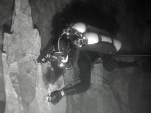 Cave diver inside cave Khao Sok
