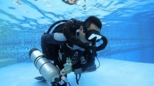 JJ CCR Rebreather diver skills in the pool Taiwan