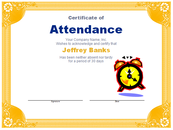 Attendance award template blue layouts attendance award template yadclub Choice Image