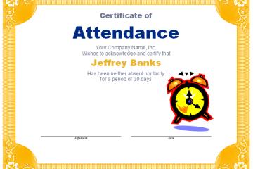 Attendance Award Template
