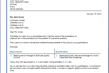 Cover Letter Table Template