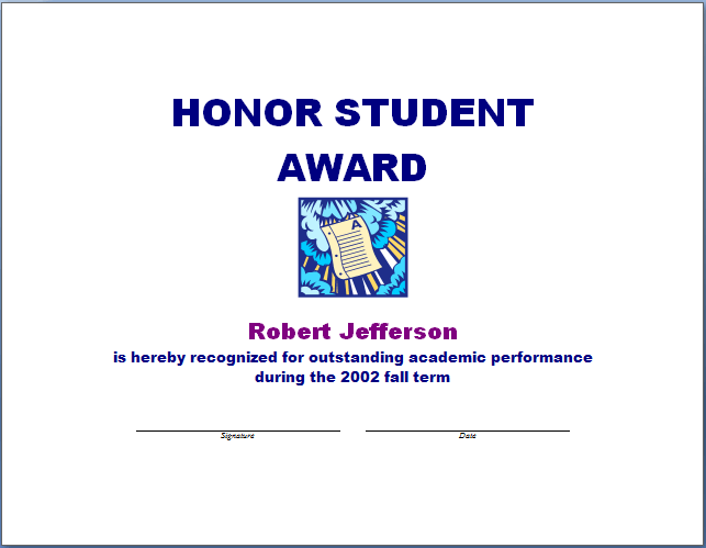 Honor student award template blue layouts honor student award template yelopaper