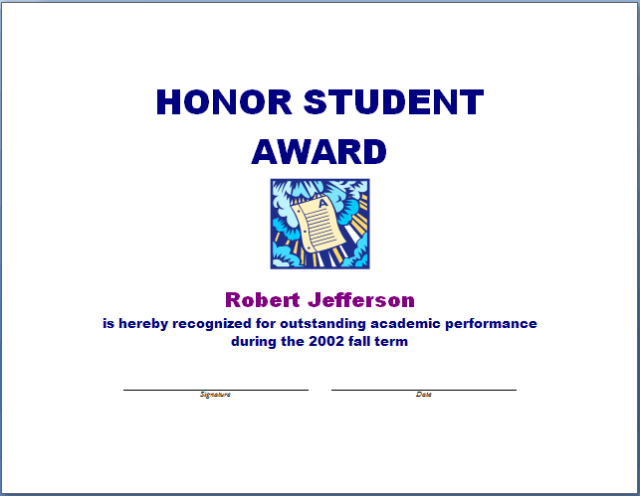 Honor Student Award Template – Student Certificate Template